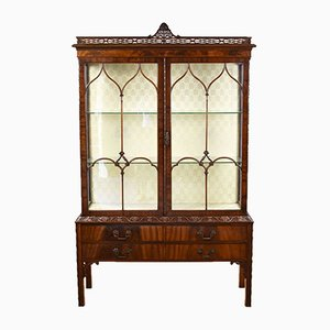 Flamed Mahogany Chinese Chippendale Style Display Cabinet
