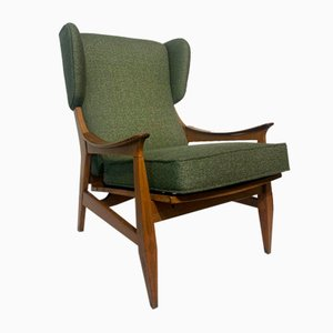 Grüner Frottee Sessel, 1950er