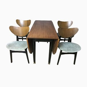 Mid-Century Drop Leaf Dining Table & Four Matching Butterfly Chairs from G-Plan, Set of 5
