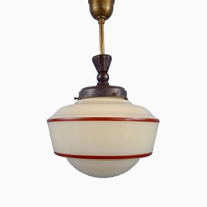 Hängelampe aus Opalglas mit roten Nadelstreifen, 1930er