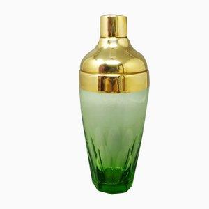 Grüner Cocktailshaker aus geschliffenem Glas, 1960er