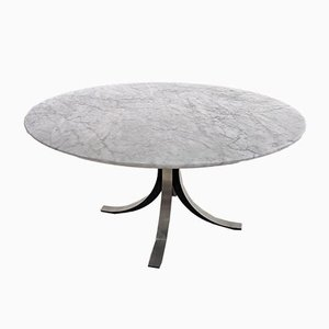 Table in White Carrara Marble by Osvaldo Borsani for Tecno