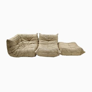 Vintage Cream Leather Togo Sofa Modules by Michel Ducaroy for Ligne Roset, Set of 3