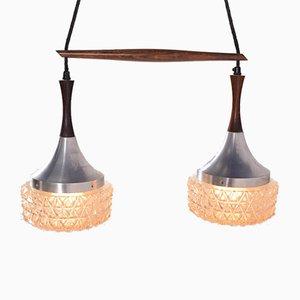 Lámpara colgante danesa Mid-Century de palisandro, metal y vidrio