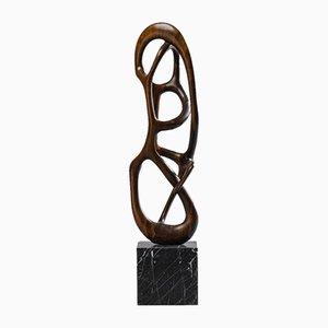 Escultura abstracta de madera con forma orgánica, años 50