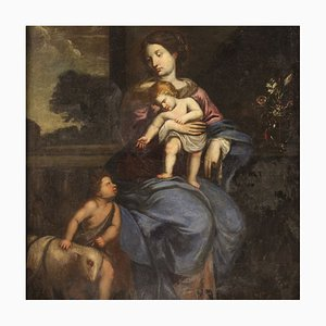 Virgen con niño italiana y San Juan, siglo XVII