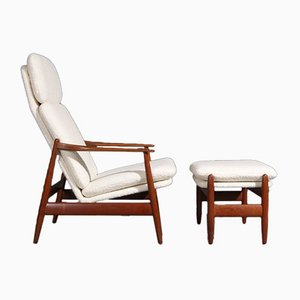 Armchair by Poul Volther for Frem Røjlen with High Back and Footstool, Set of 2