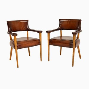 Vintage Leather and Oak Armchair, 1960s, Set of 2
