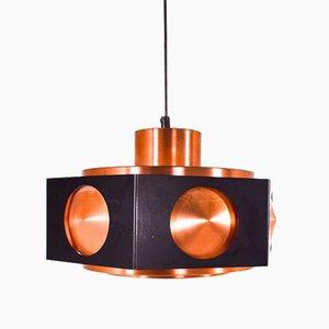 Lámpara colgante danesa de cobre con aluminio lacado en negro, años 60
