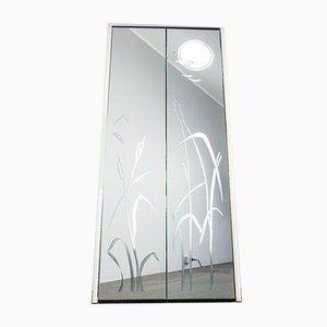Specchio da ingresso retroilluminato decorato, anni '70