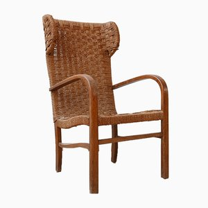 Mid-Century Dutch High Back Corded Armchair
