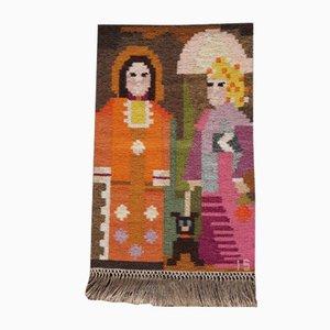 Bunter handgewebter Vintage Vintage Promenad Wandteppich aus Wolle & Leinen von Ingegerd Silow für Eric Ewers AB
