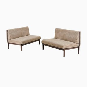 Wood & Fabric Sofas from ISA Bergamo, 1960s, Set of 2