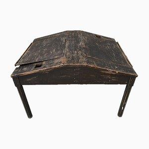 Doppelseitiger Schreibtisch aus geschwärztem Tannenholz, 1900er