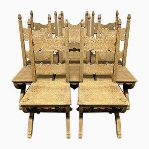 Französische Esszimmerstühle aus Gebleichter Eiche, 8er Set