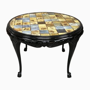 Vintage English Black Lacquered Walnut & Ceramic Tile Pedestal Table