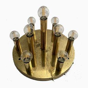 Brass 10-Bulb Ceiling Lamp, 1960s