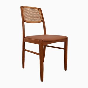 Danish Mid-Century Teak and Tan Leather Dining Chairs, Set of 6