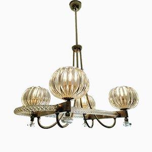 Lampadario Art Deco a quattro luci di Ercole Barovier per Barovier & Toso, anni '30