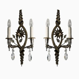 Silver Plated Maison Bagués Wall Lights, 1930s, Set of 2