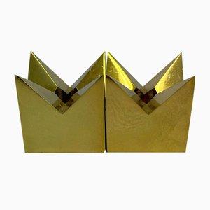 Candeleros Krona de latón de Pierre Forssell para Skultuna, años 60. Juego de 2