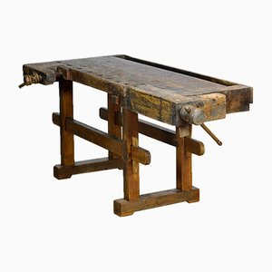 Antique Carpenter's Oak Workbench, 1910s