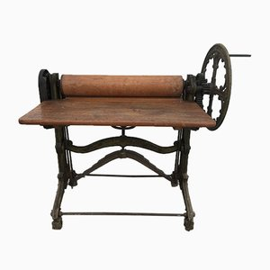 Antique Industrial Laundry Mangle Folding Table, 1900s