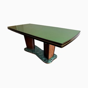 Italian Mid-Century Dining Table with Green Top Glass by Vittorio Dassi, 1950s