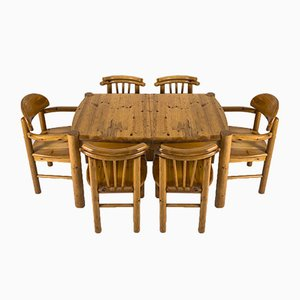 Dining Table & Chairs Set in the Style of Rainer Daumiller, 1970s, Set of 7