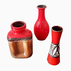 Mid-Century Keramikvasen von Scheurich & Steuler, 3er Set