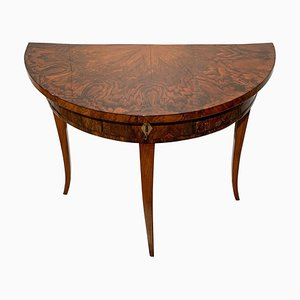 Biedermeier Demi-Lune Console Table with Walnut Veneer, South Germany, 1825