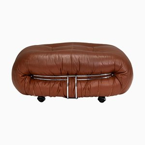 Soriana Pouf in Tan Leather by Tobia Scarpa for Cassina, Italy, 1970s