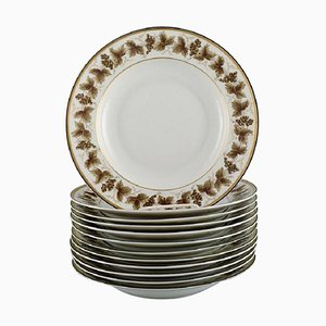 Limoges Porcelain Deep Plates with Hand-Painted Grapevines, Set of 12