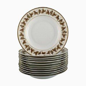 Tiefe Limoges Porzellan Teller mit handbemalten Weinreben, 12er Set