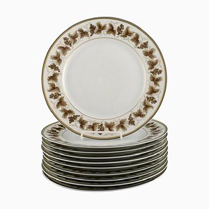 Limoges Porcelain Dinner Plates with Hand-Painted Grapevines, Set of 10