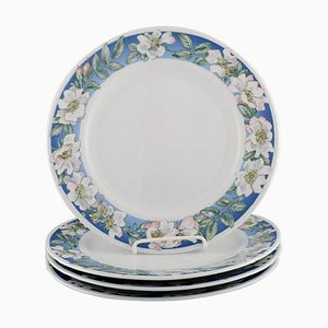 Royal Copenhagen White Rose Dinner Plates with Blue Border and White Flowers, Set of 4
