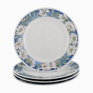 Royal Copenhagen White Rose Dinner Plates with Blue Border and White Flowers, Set of 4