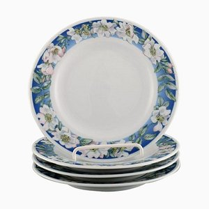Royal Copenhagen White Rose Plates with Blue Border and White Flowers, Set of 4