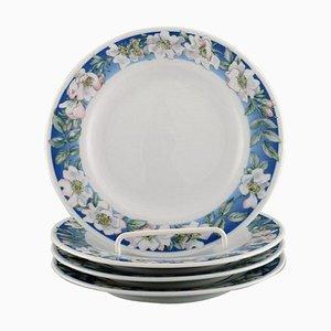 Weiße Royal Rose Copenhagen Teller mit blauem Rand und weißen Blumen, 4er Set