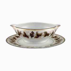Limoges Sauceboat on Stand in Porcelain with Hand-Painted Grapevines, Set of 2