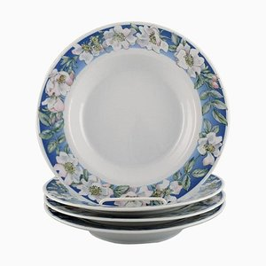Royal Copenhagen White Rose Deep Plates with Blue Border and White Flowers, Set of 4