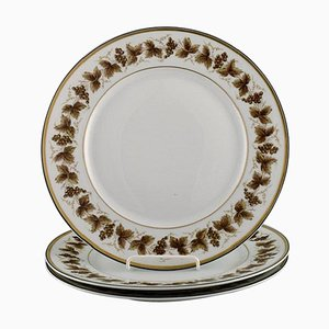 Large Limoges Porcelain Plates with Hand-Painted Grapevines, Set of 3