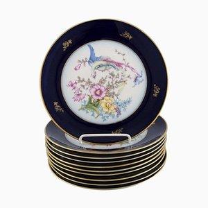 Rosenthal Porzellan Teller mit handbemalten Blumen & Vögeln, 10er Set