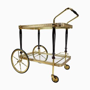 Brass Drinks Trolley in Brass and Glass by Maison Jansen, France, 1950s