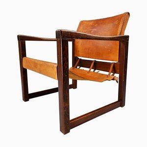 Safari Sessel aus patiniertem cognacfarbenem Sattelleder, 1970er
