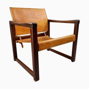 Sillón Safari de cuero de silla de montar coñac patinado, años 70
