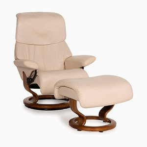 Vision Leather Armchair Cream with Stool Relaxation Function from Stressless