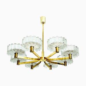 Lampadario in ottone con 8 paralumi in vetro, anni '60