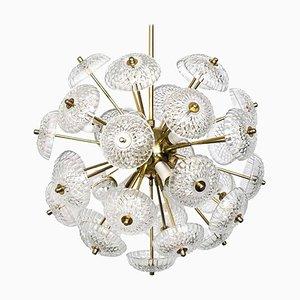 Große Messing & Glas Sputnik Lampe im Stil von Emil Stejnar, 1960er