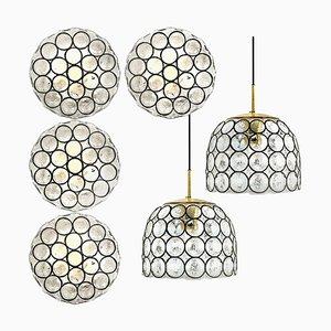 Circle Eisen und Bubble Glas Leuchten von Glashütte, 1960er, 6er Set